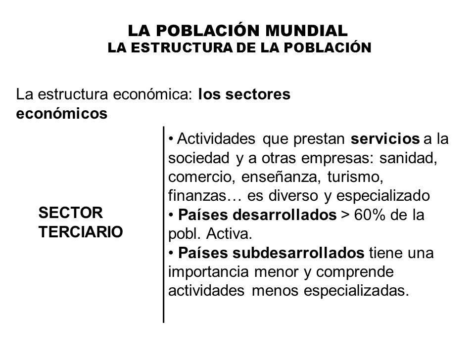 LA POBLACIÓN MUNDIAL LA ESTRUCTURA DE LA POBLACIÓN La estructura económica: los sectores económicos SECTOR TERCIARIO Actividades que prestan servicios