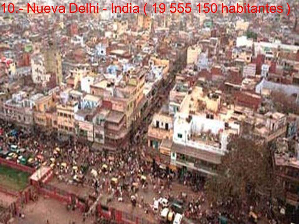 10.- Nueva Delhi - India ( 19 555 150 habitantes )