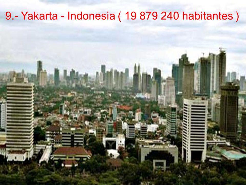 9.- Yakarta - Indonesia ( 19 879 240 habitantes )
