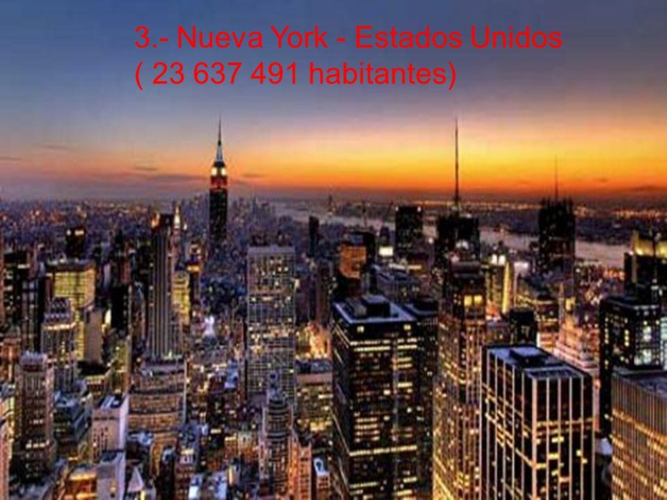 3.- Nueva York - Estados Unidos ( 23 637 491 habitantes)