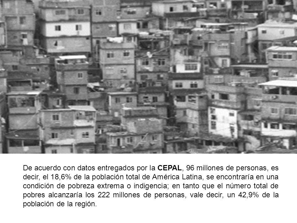 De acuerdo con datos entregados por la CEPAL, 96 millones de personas, es decir, el 18,6% de la población total de América Latina, se encontraría en u