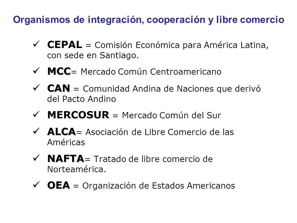 Organismos de integración, cooperación y libre comercio CEPAL = Comisión Económica para América Latina, con sede en Santiago. MCC MCC = Mercado Común