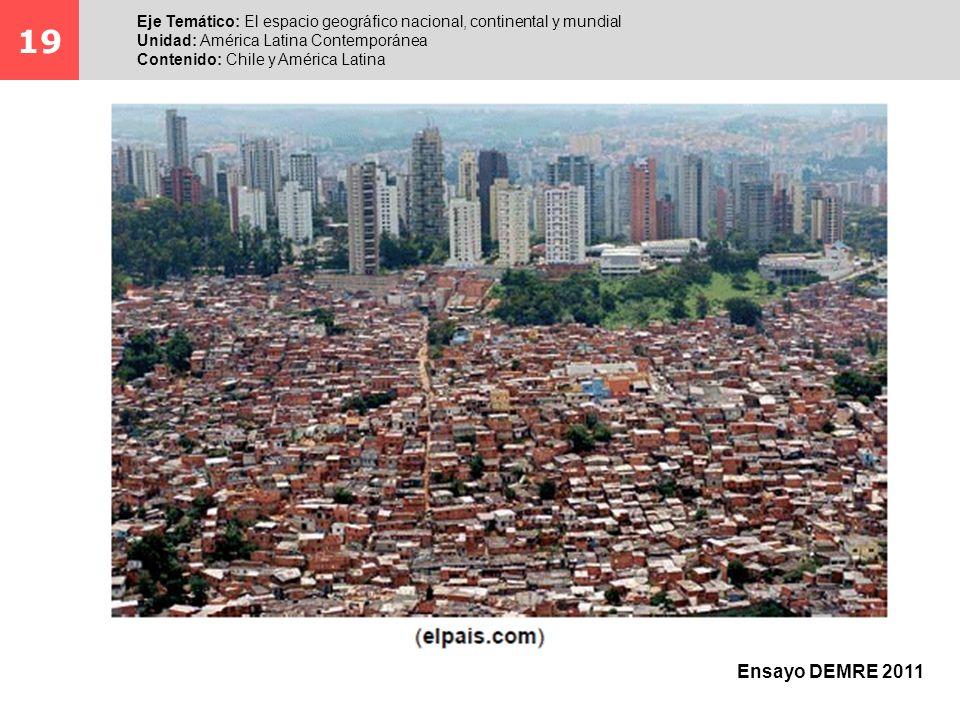 19 Eje Temático: El espacio geográfico nacional, continental y mundial Unidad: América Latina Contemporánea Contenido: Chile y América Latina Ensayo D
