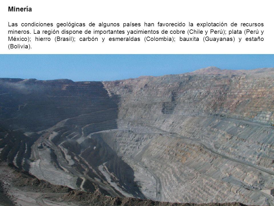 Minería Las condiciones geológicas de algunos países han favorecido la explotación de recursos mineros. La región dispone de importantes yacimientos d