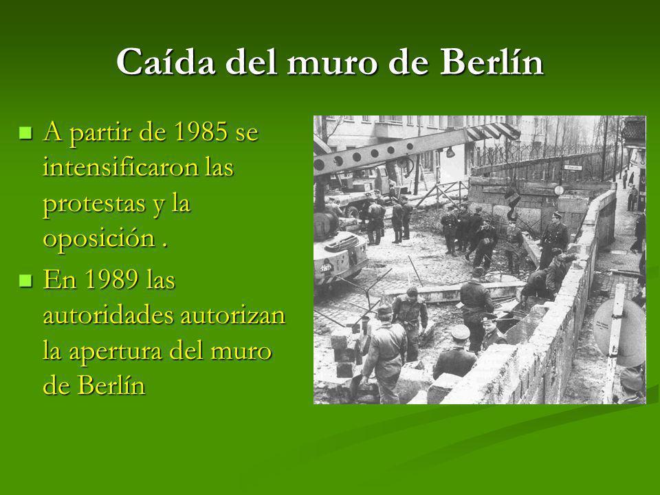 Caída del muro de Berlín A partir de 1985 se intensificaron las protestas y la oposición. A partir de 1985 se intensificaron las protestas y la oposic
