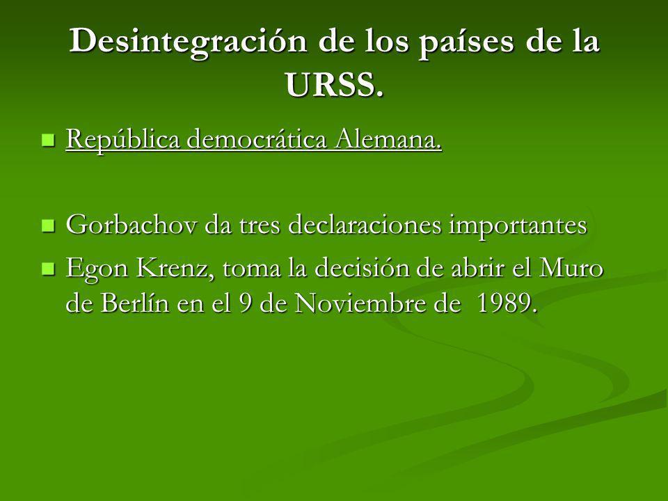 Desintegración de los países de la URSS. República democrática Alemana. República democrática Alemana. Gorbachov da tres declaraciones importantes Gor