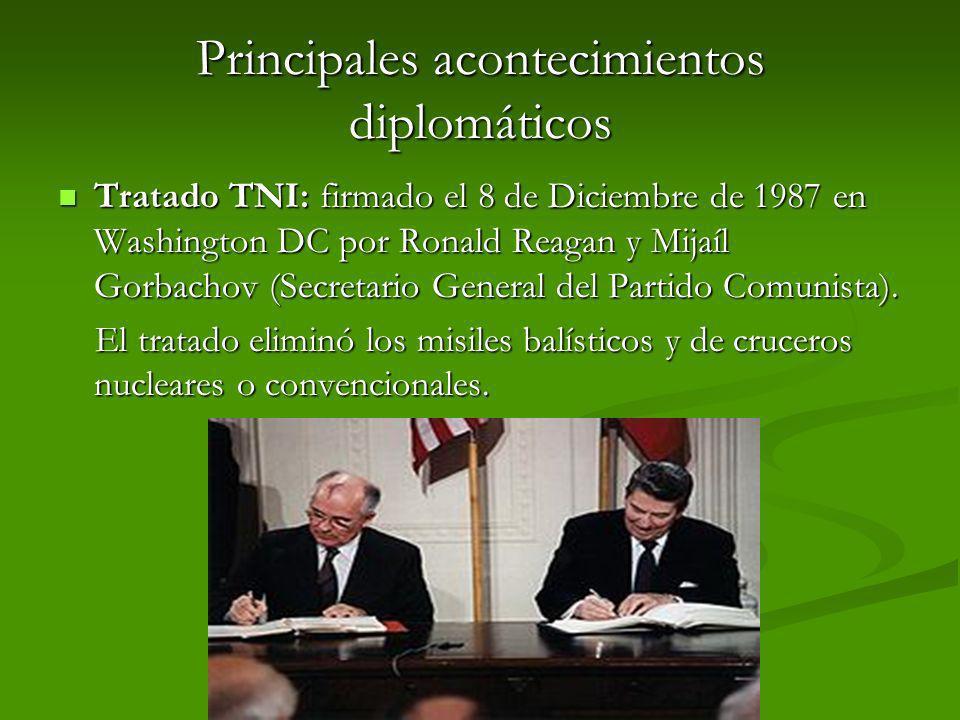 Principales acontecimientos diplomáticos Tratado TNI: firmado el 8 de Diciembre de 1987 en Washington DC por Ronald Reagan y Mijaíl Gorbachov (Secreta