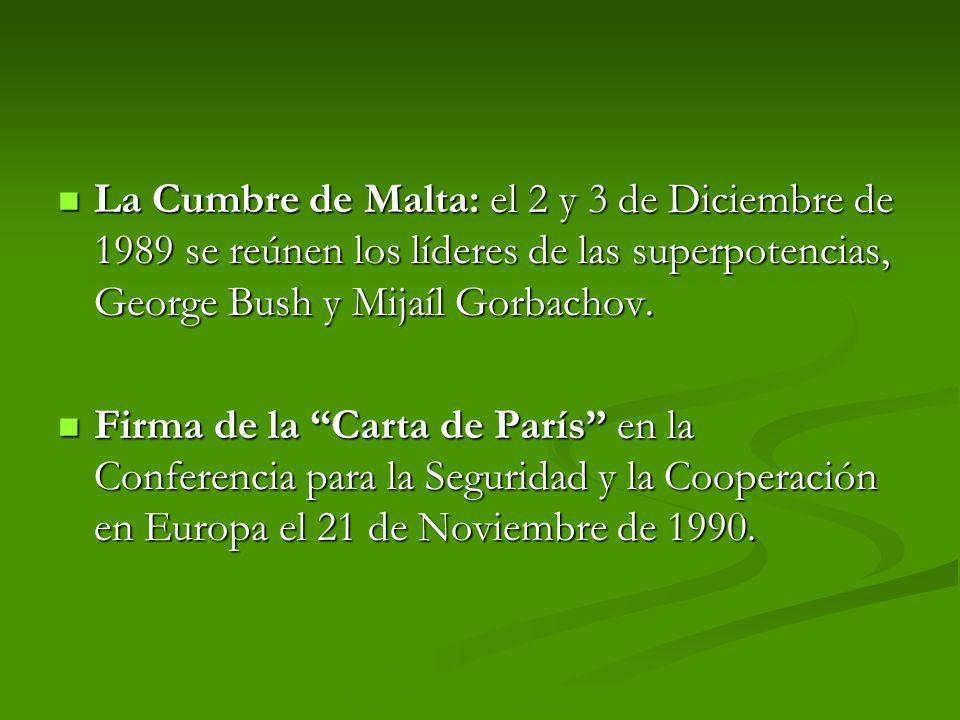 La Cumbre de Malta: el 2 y 3 de Diciembre de 1989 se reúnen los líderes de las superpotencias, George Bush y Mijaíl Gorbachov. La Cumbre de Malta: el