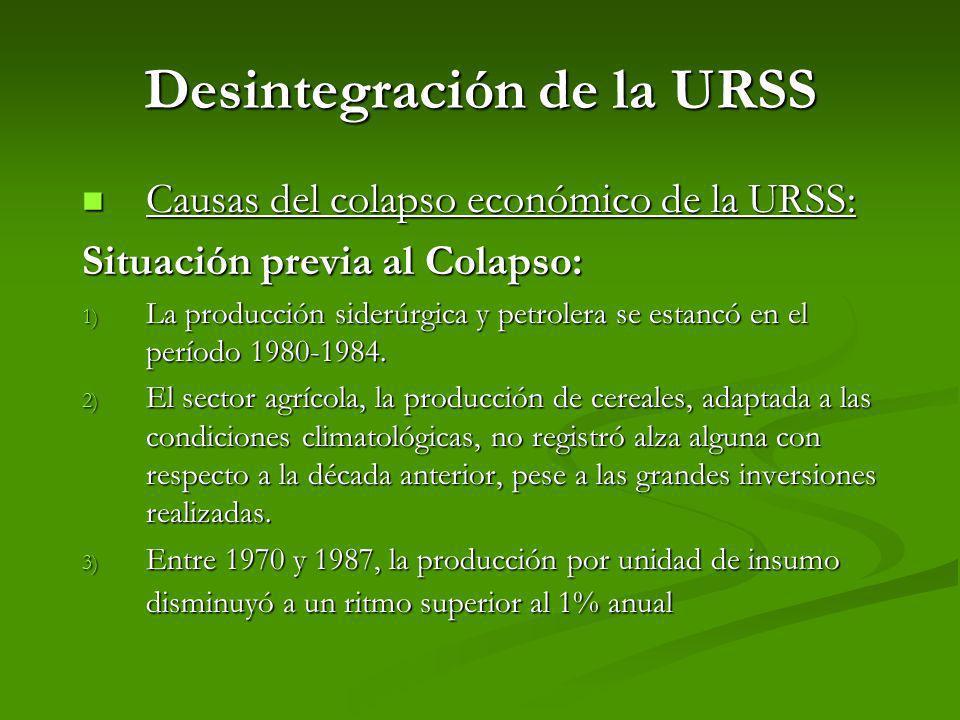 Desintegración de la URSS Causas del colapso económico de la URSS: Causas del colapso económico de la URSS: Situación previa al Colapso: 1) La producc