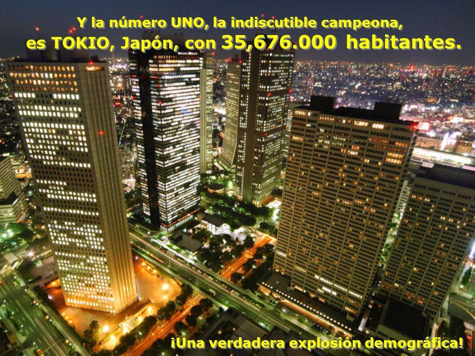 La número DOS es la Ciudad de México con 19,040,000 La número DOS es la Ciudad de México con 19,040,000 (Estos habitantes son los que tenía toda la República Mexicana en 1939) (Estos habitantes son los que tenía toda la República Mexicana en 1939)