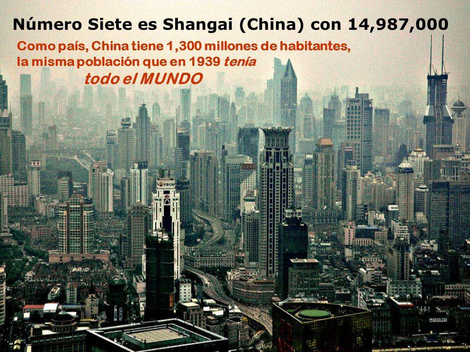 Número Siete es Shangai (China) con 14,987,000 Como país, China tiene 1,300 millones de habitantes, la misma población que en 1939 tenía todo el MUNDO