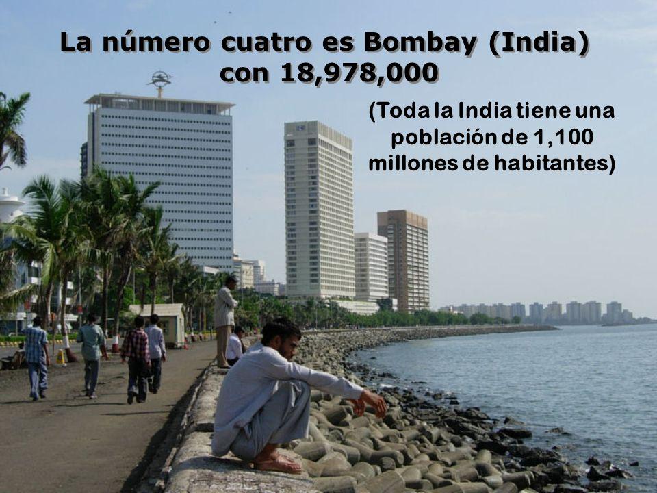 La número cuatro es Bombay (India) con 18,978,000 La número cuatro es Bombay (India) con 18,978,000 (Toda la India tiene una población de 1,100 millones de habitantes)