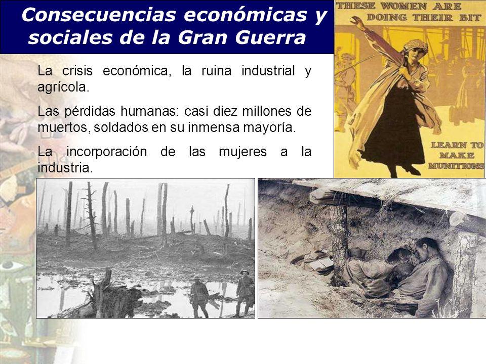 Consecuencias económicas y sociales de la Gran Guerra La crisis económica, la ruina industrial y agrícola. Las pérdidas humanas: casi diez millones de