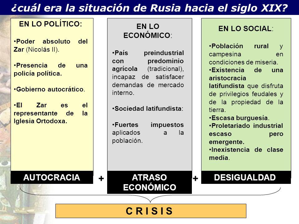 ¿cuál era la situación de Rusia hacia el siglo XIX? EN LO ECONÓMICO: País preindustrial con predominio agrícola (tradicional), incapaz de satisfacer d