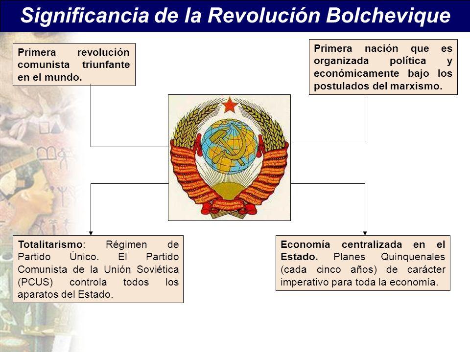 Significancia de la Revolución Bolchevique Economía centralizada en el Estado. Planes Quinquenales (cada cinco años) de carácter imperativo para toda