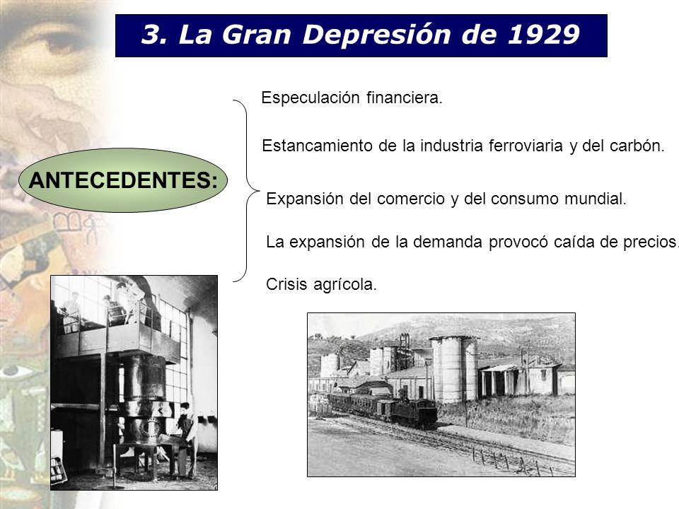 3. La Gran Depresión de 1929 Especulación financiera. Estancamiento de la industria ferroviaria y del carbón. Expansión del comercio y del consumo mun