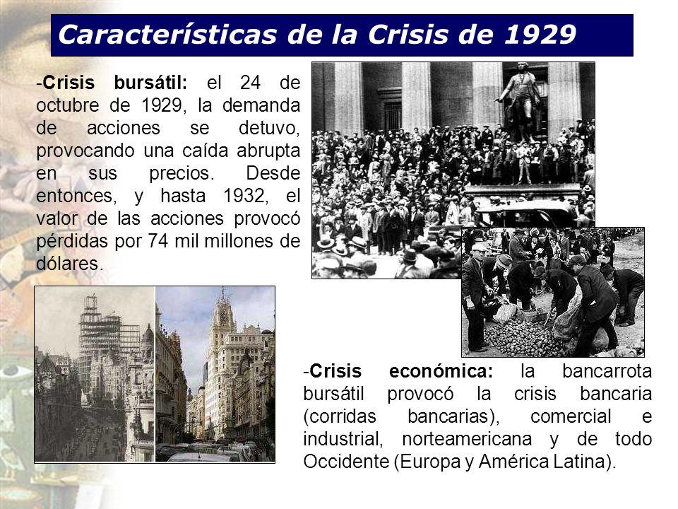 Características de la Crisis de 1929 -Crisis económica: la bancarrota bursátil provocó la crisis bancaria (corridas bancarias), comercial e industrial