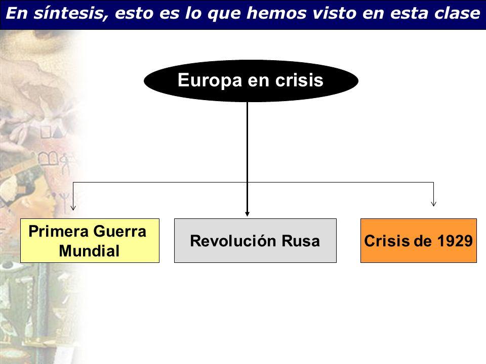 Primera Guerra Mundial Revolución RusaCrisis de 1929 En síntesis, esto es lo que hemos visto en esta clase Europa en crisis