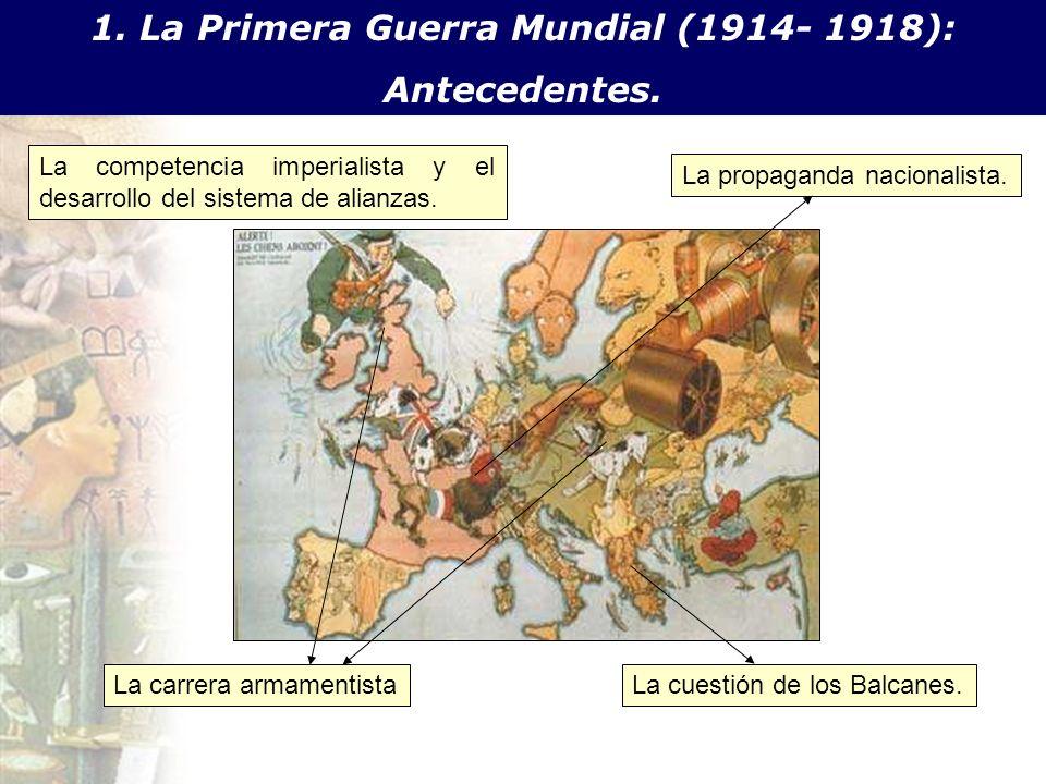 1. La Primera Guerra Mundial (1914- 1918): Antecedentes. : La competencia imperialista y el desarrollo del sistema de alianzas. La carrera armamentist