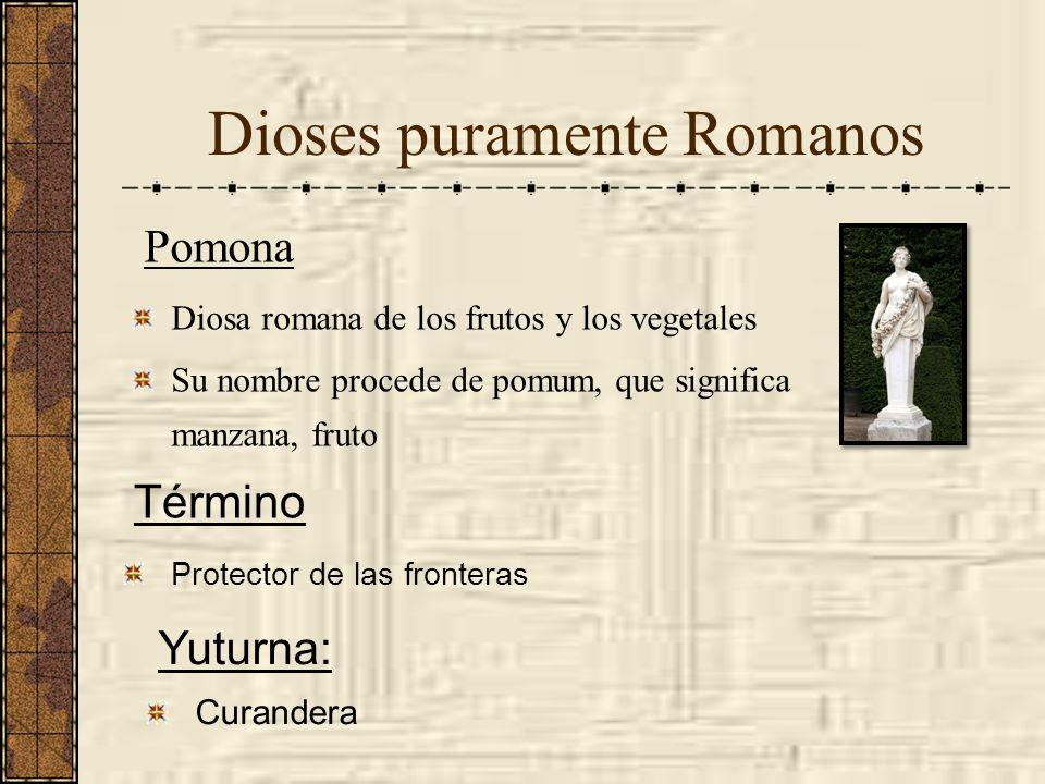 Dioses puramente Romanos Pomona Diosa romana de los frutos y los vegetales Su nombre procede de pomum, que significa manzana, fruto Término Protector