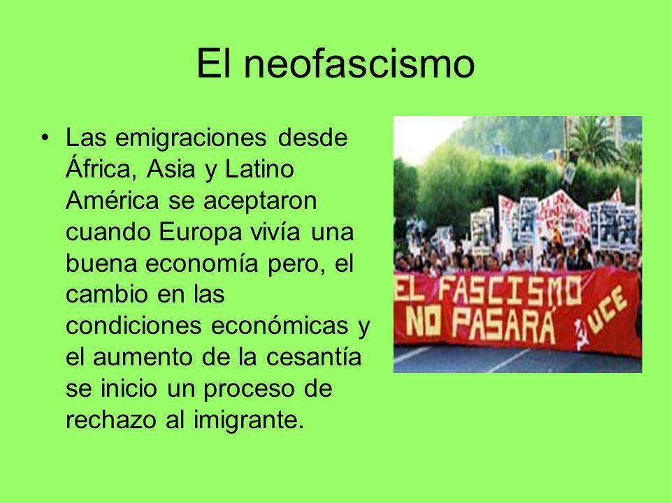 El neofascismo Las emigraciones desde África, Asia y Latino América se aceptaron cuando Europa vivía una buena economía pero, el cambio en las condici