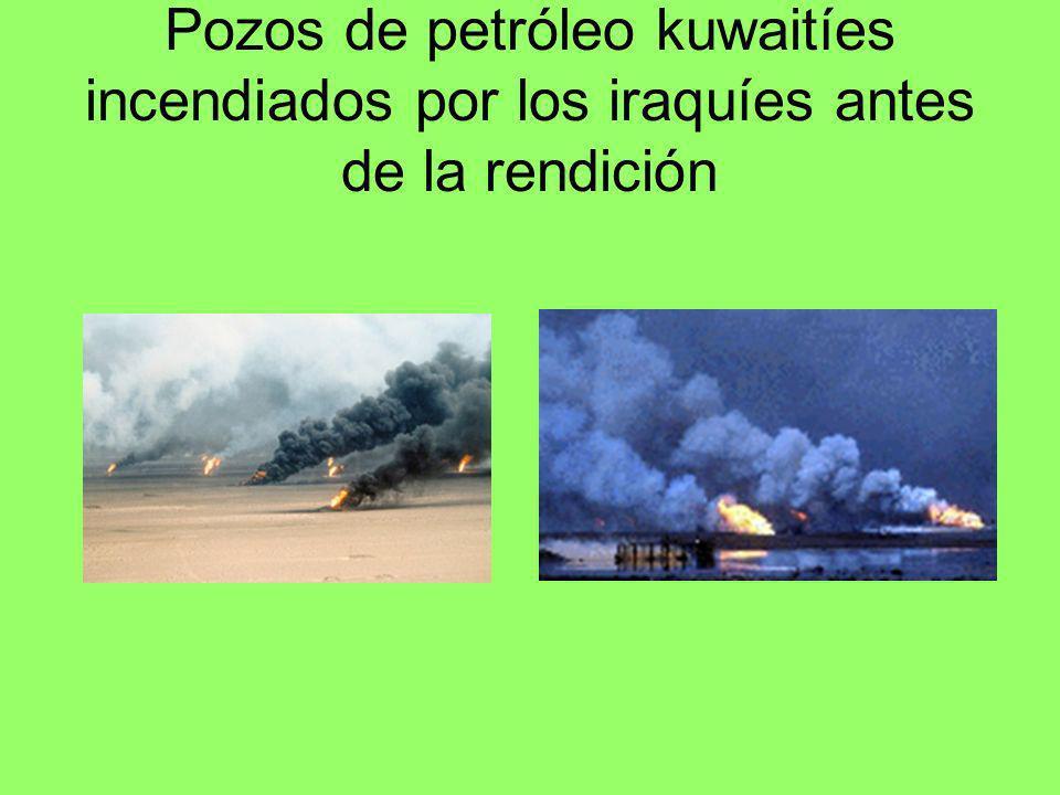Pozos de petróleo kuwaitíes incendiados por los iraquíes antes de la rendición