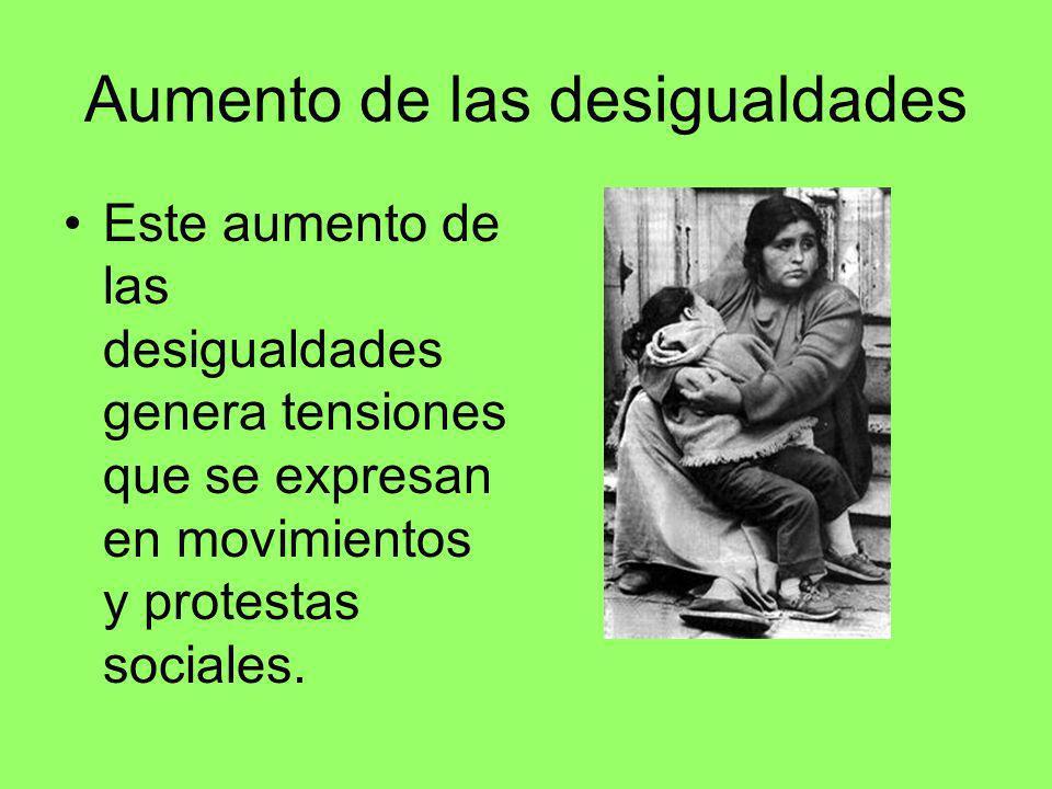 Aumento de las desigualdades Este aumento de las desigualdades genera tensiones que se expresan en movimientos y protestas sociales.