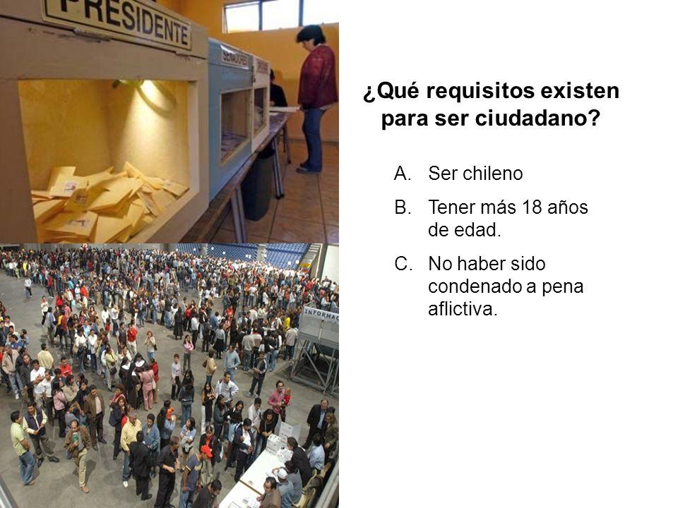 ¿Qué requisitos existen para ser ciudadano? A.Ser chileno B.Tener más 18 años de edad. C.No haber sido condenado a pena aflictiva.