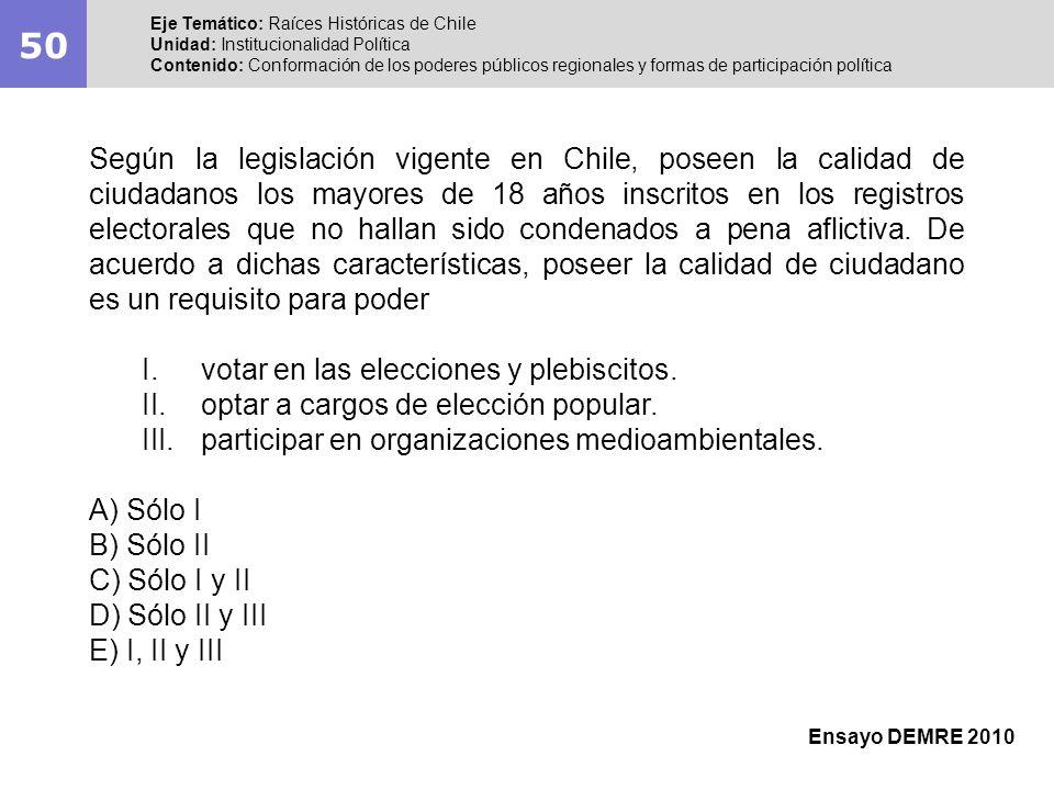 50 Eje Temático: Raíces Históricas de Chile Unidad: Institucionalidad Política Contenido: Conformación de los poderes públicos regionales y formas de