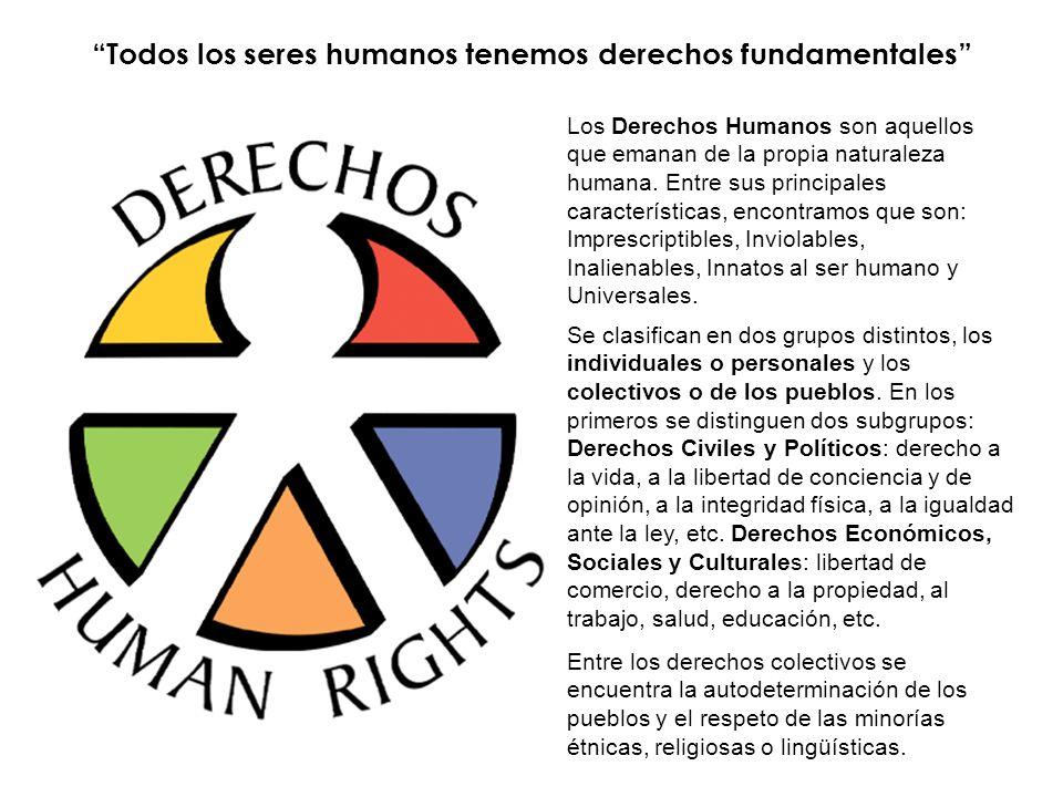 Todos los seres humanos tenemos derechos fundamentales Los Derechos Humanos son aquellos que emanan de la propia naturaleza humana. Entre sus principa