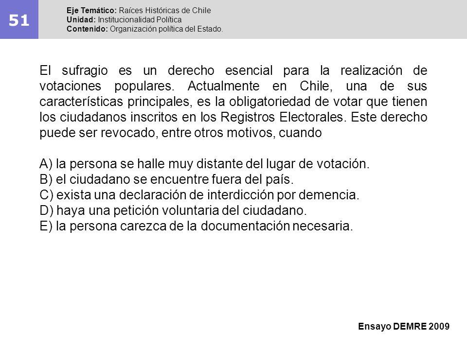 51 Eje Temático: Raíces Históricas de Chile Unidad: Institucionalidad Política Contenido: Organización política del Estado. Ensayo DEMRE 2009 El sufra