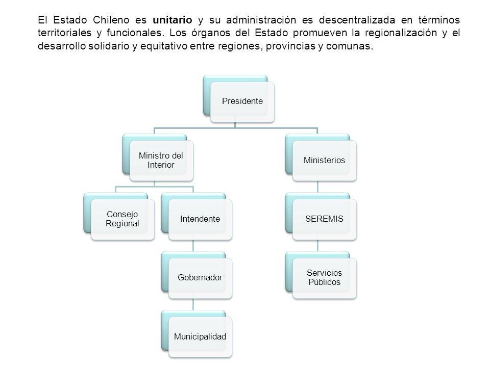 El Estado Chileno es unitario y su administración es descentralizada en términos territoriales y funcionales. Los órganos del Estado promueven la regi