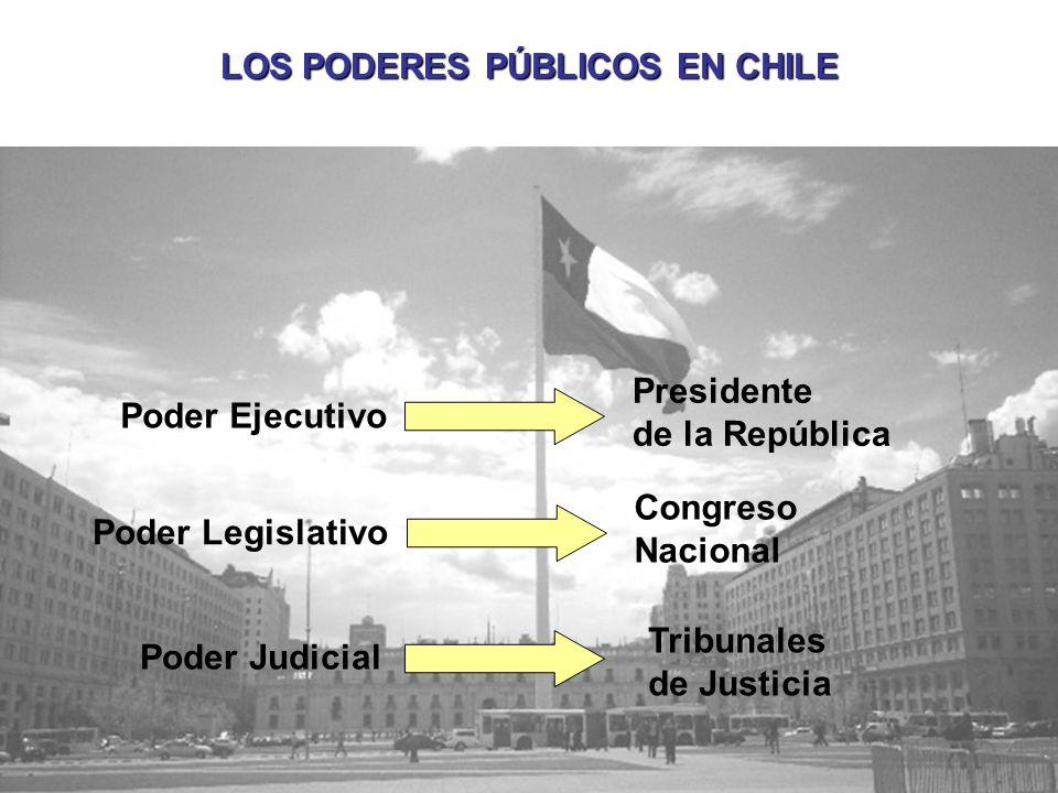 LOS PODERES PÚBLICOS EN CHILE Poder Ejecutivo Presidente de la República Poder Legislativo Congreso Nacional Poder Judicial Tribunales de Justicia