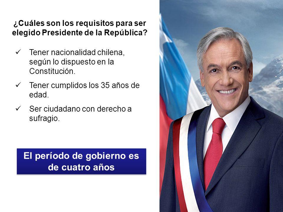 ¿Cuáles son los requisitos para ser elegido Presidente de la República? Tener nacionalidad chilena, según lo dispuesto en la Constitución. Tener cumpl