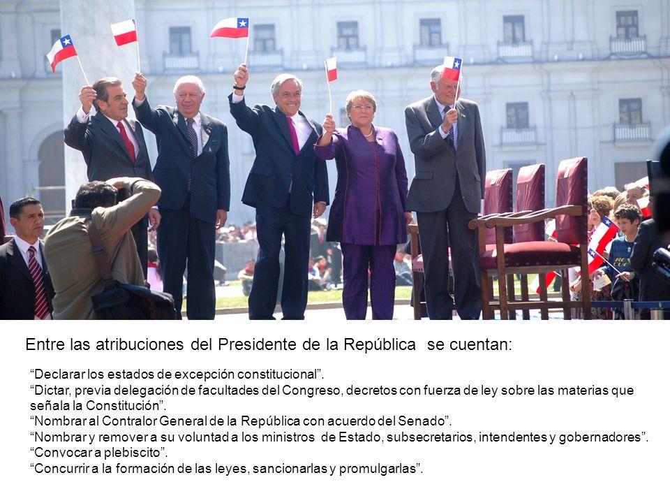 Entre las atribuciones del Presidente de la República se cuentan: Declarar los estados de excepción constitucional. Dictar, previa delegación de facul