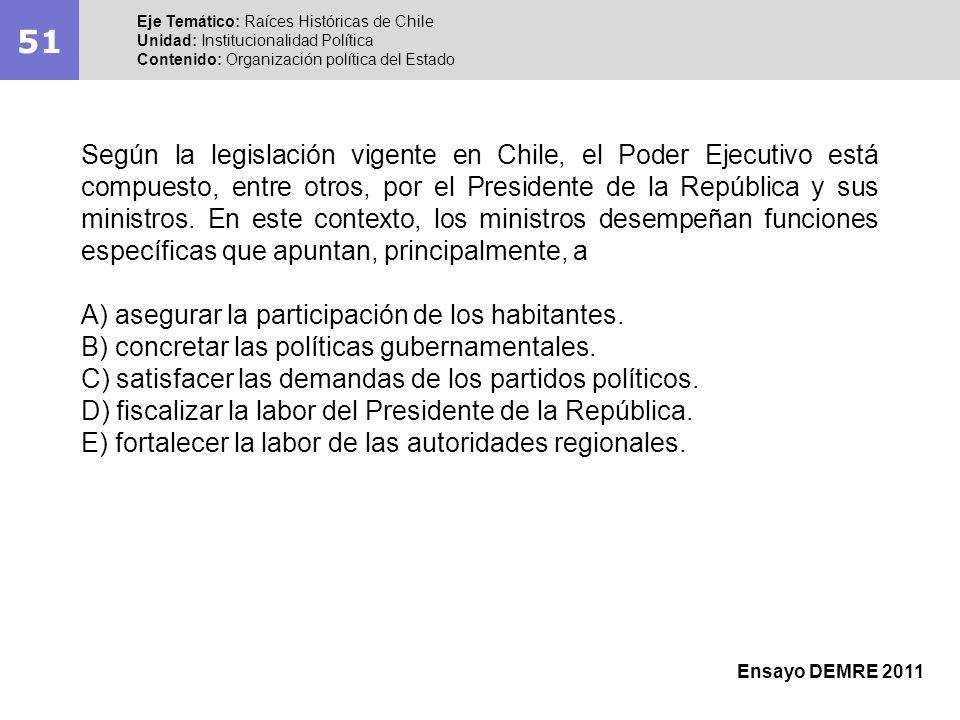51 Eje Temático: Raíces Históricas de Chile Unidad: Institucionalidad Política Contenido: Organización política del Estado Ensayo DEMRE 2011 Según la