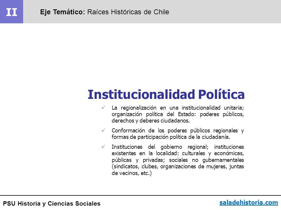 PSU Historia y Ciencias Sociales II Eje Temático: Raíces Históricas de Chile saladehistoria.com La regionalización en una institucionalidad unitaria;