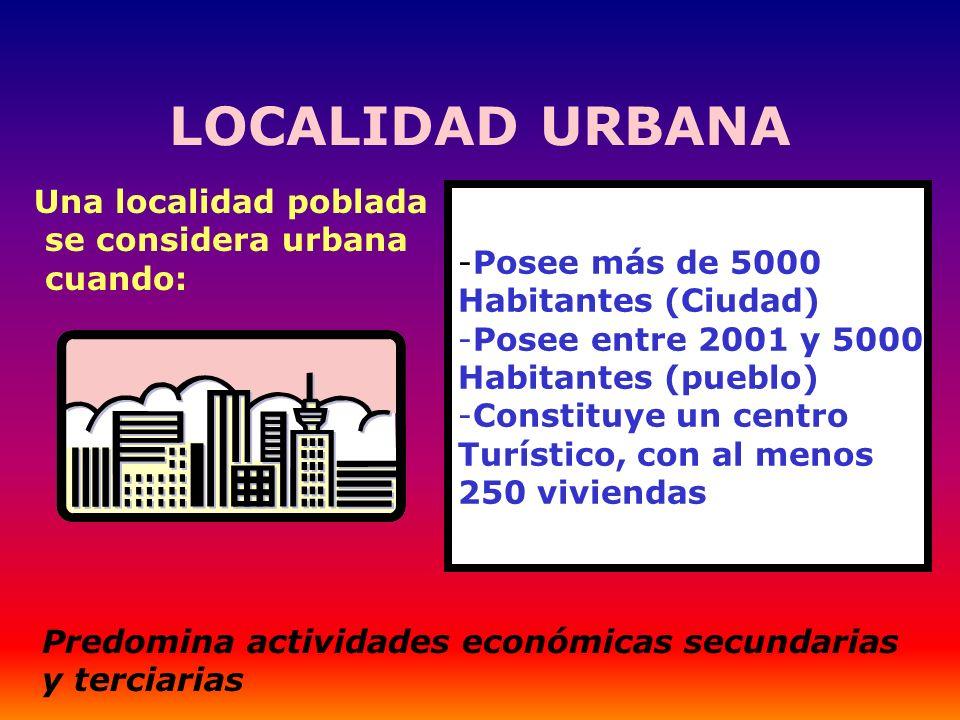 LOCALIDAD URBANA -Posee más de 5000 Habitantes (Ciudad) -Posee entre 2001 y 5000 Habitantes (pueblo) -Constituye un centro Turístico, con al menos 250