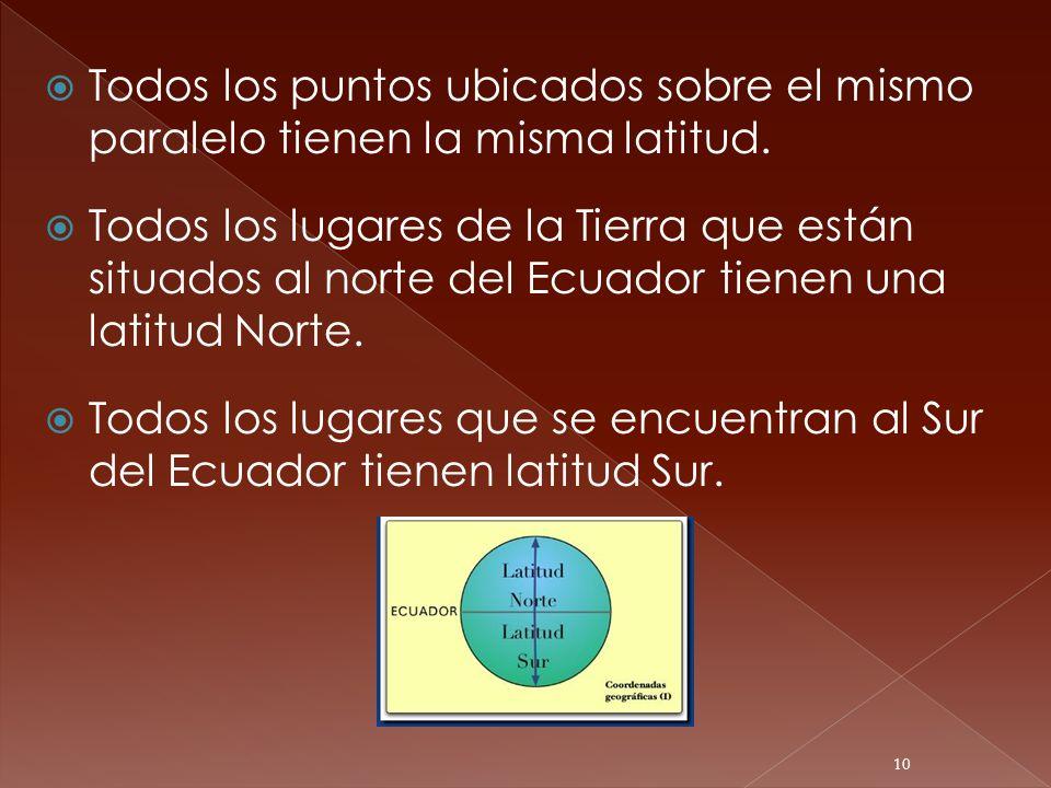 Todos los puntos ubicados sobre el mismo paralelo tienen la misma latitud. Todos los lugares de la Tierra que están situados al norte del Ecuador tien
