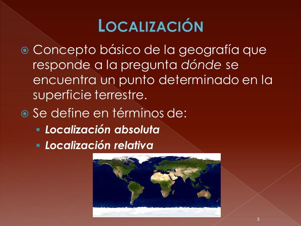 Concepto básico de la geografía que responde a la pregunta dónde se encuentra un punto determinado en la superficie terrestre. Se define en términos d