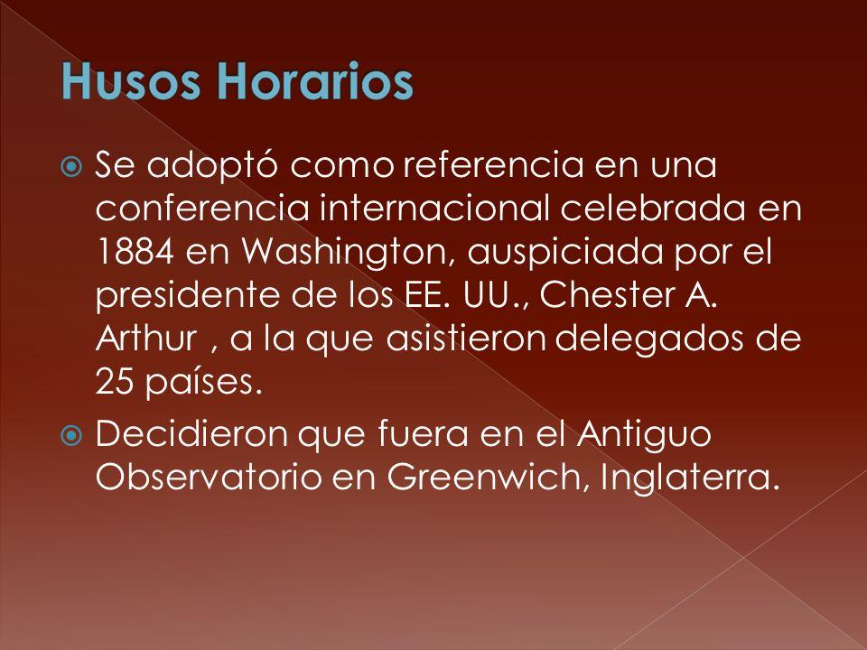 Se adoptó como referencia en una conferencia internacional celebrada en 1884 en Washington, auspiciada por el presidente de los EE. UU., Chester A. Ar