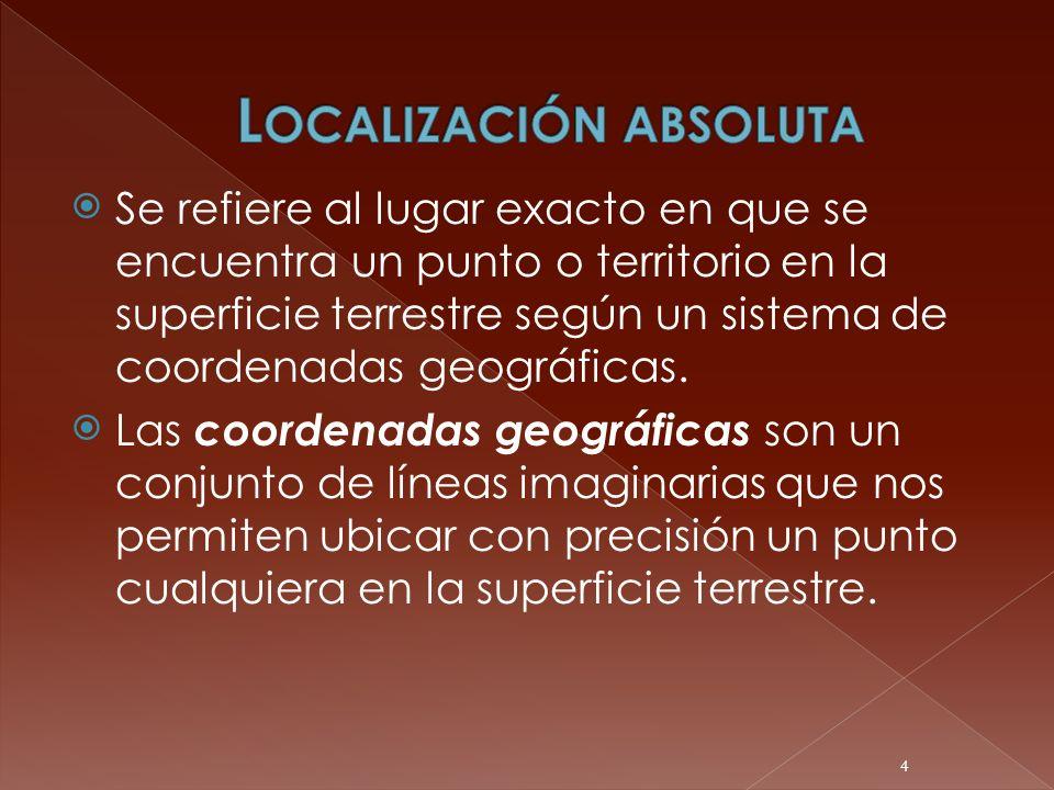 Se refiere al lugar exacto en que se encuentra un punto o territorio en la superficie terrestre según un sistema de coordenadas geográficas. Las coord