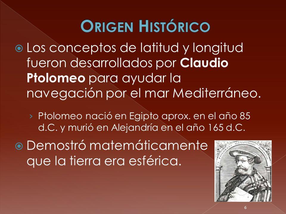 Los conceptos de latitud y longitud fueron desarrollados por Claudio Ptolomeo para ayudar la navegación por el mar Mediterráneo. Ptolomeo nació en Egi