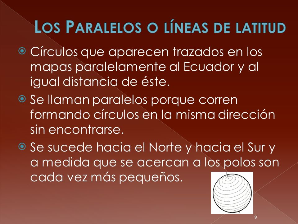 Círculos que aparecen trazados en los mapas paralelamente al Ecuador y al igual distancia de éste. Se llaman paralelos porque corren formando círculos
