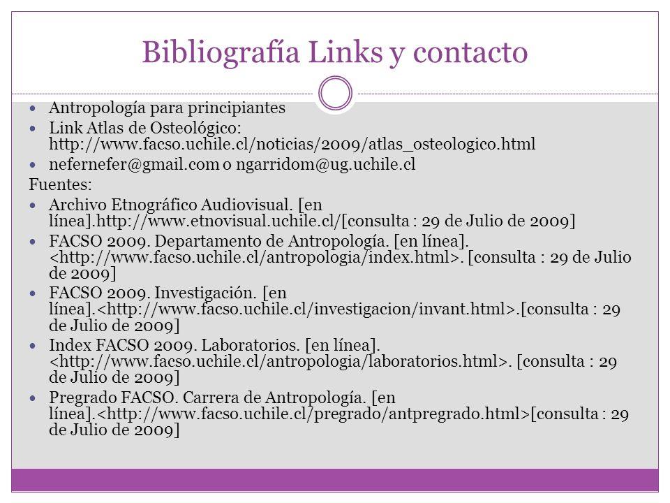 Bibliografía Links y contacto Antropología para principiantes Link Atlas de Osteológico: http://www.facso.uchile.cl/noticias/2009/atlas_osteologico.ht