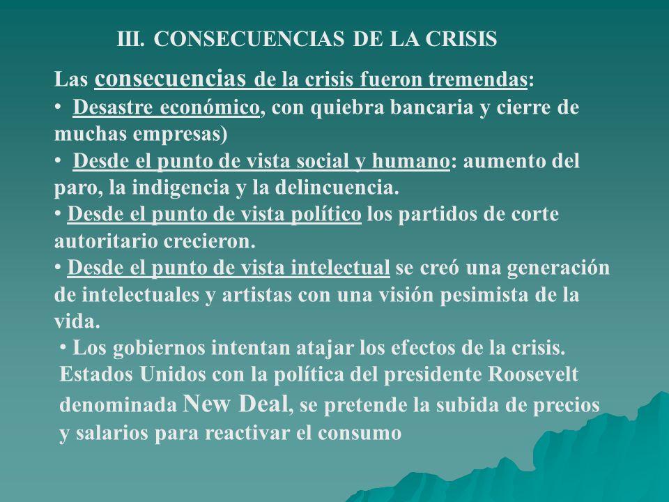 III. CONSECUENCIAS DE LA CRISIS Las consecuencias de la crisis fueron tremendas: Desastre económico, con quiebra bancaria y cierre de muchas empresas)
