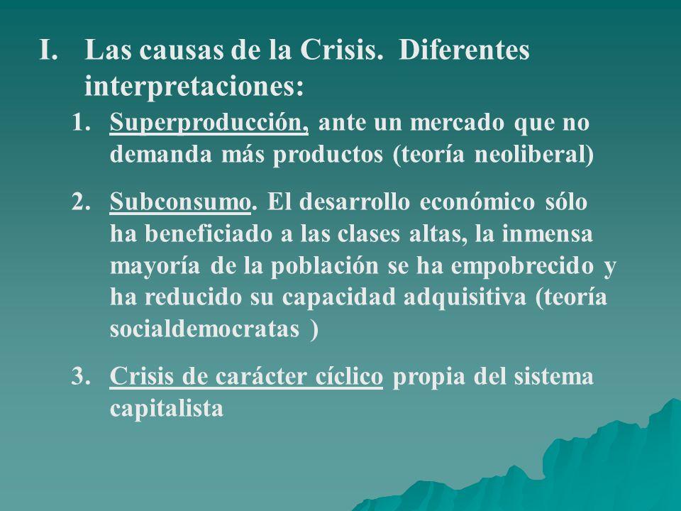 I.Las causas de la Crisis. Diferentes interpretaciones: 1.Superproducción, ante un mercado que no demanda más productos (teoría neoliberal) 2.Subconsu