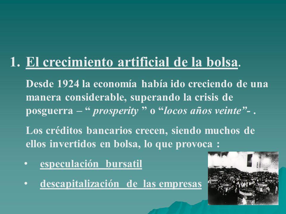 1.El crecimiento artificial de la bolsa. Desde 1924 la economía había ido creciendo de una manera considerable, superando la crisis de posguerra – pro