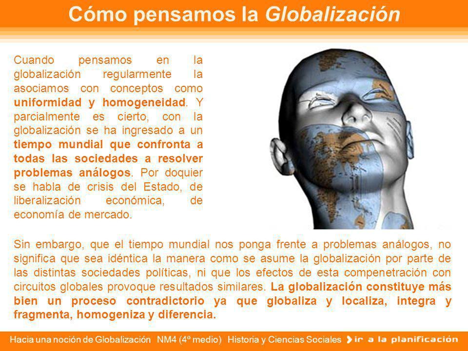 Hacia una noción de Globalización NM4 (4º medio) Historia y Ciencias Sociales ÍNDICE Cómo pensamos la Globalización Cómo pensamos la Globalización El