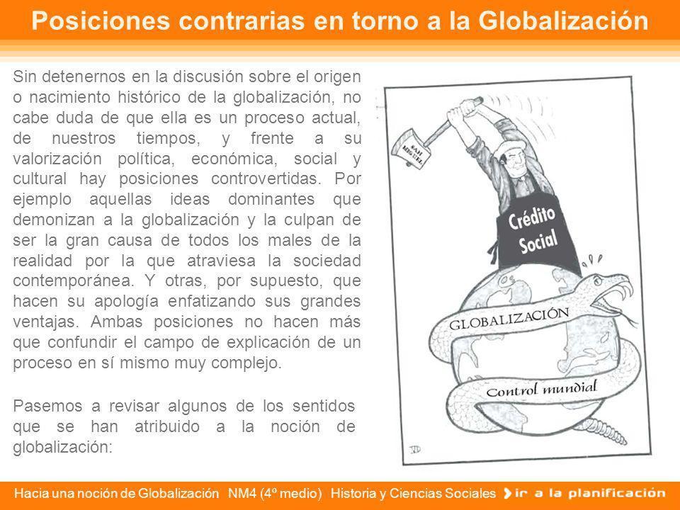 Hacia una noción de Globalización NM4 (4º medio) Historia y Ciencias Sociales El tiempo histórico de la Globalización Hay quienes plantean que el proc